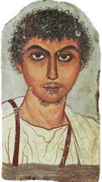 a young man with beard. funeral portrait. encaustic on wood (mid 4th CE) from fayum, egypt